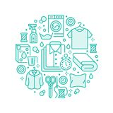 Dry cleaning, banner illustration with flat line icons. Laundry service equipment, washing machine, clothing shoe. Leather repair, garment, shirts. Circle Royalty Free Stock Photography