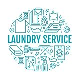 Dry cleaning, banner illustration with flat line icons. Laundry service equipment, washing machine, clothing shoe. Leather repair, garment steaming. Circle Stock Photo