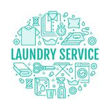 Dry cleaning, banner illustration with flat line icon. Laundry service equipment, washing machine, clothing shoe leather. Dry cleaning, banner illustration with Stock Images