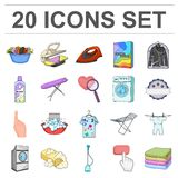 Dry cleaning equipment cartoon icons in set collection for design. Washing and ironing clothes vector symbol stock web. Dry cleaning equipment cartoon icons in Stock Images