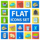 Dry cleaning equipment flat icons in set collection for design. Washing and ironing clothes vector symbol stock web. Dry cleaning equipment flat icons in set Stock Photography