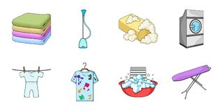 Dry cleaning equipment icons in set collection for design.  Stock Photos