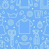 Dry cleaning, laundry blue seamless pattern with flat line icons. Laundromat service equipment, clothing repair, garment vector illustration