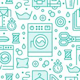 Dry cleaning, laundry blue seamless pattern with line icons. Laundromat service equipment, washing machine, clothing. Repair, garment delivery. Background for Royalty Free Stock Images