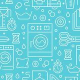 Dry cleaning, laundry blue seamless pattern with line icons. Laundromat service equipment, washing machine, clothing stock illustration