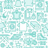 Dry cleaning, laundry blue seamless pattern with line icons. Laundromat service equipment, washing machine, clothing. Shoe and leaher repair, garment ironing Royalty Free Stock Images