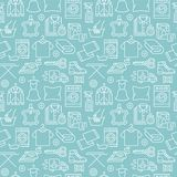 Dry cleaning, laundry blue seamless pattern with line icons. Laundromat service equipment, washing machine, clothing vector illustration