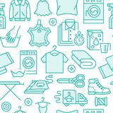 Dry Cleaning, Laundry Blue Seamless Pattern With Line Icons. Laundromat Service Equipment, Washing Machine, Clothing Stock Photos