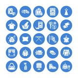 Dry cleaning, laundry flat glyph icons. Launderette service equipment, washer machine, shoe shine, clothes repair stock illustration
