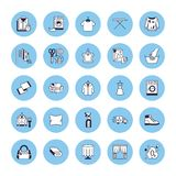 Dry cleaning, laundry line icons. Launderette service equipment, washing machine, clothing shoe and leaher repair royalty free illustration