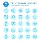 Dry cleaning, laundry line icons. Launderette service equipment, washing machine, clothing shoe and leaher repair Stock Images