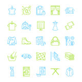 Dry cleaning, laundry line icons. Launderette service equipment, washing machine, clothing shoe and leaher repair Royalty Free Stock Photography