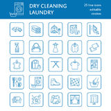 Dry cleaning, laundry line icons. Launderette service equipment, washing machine, clothing shoe and leaher repair Royalty Free Stock Images