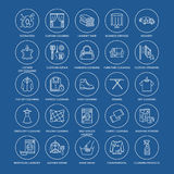 Dry cleaning, laundry line icons. Launderette service equipment, washing machine, clothing shoe and leather repair Royalty Free Stock Image