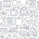 Dry cleaning, laundry seamless pattern with line icons. Laundromat service equipment, washing machine, clothing shoe and. Leaher repair, garment ironing and Royalty Free Stock Images