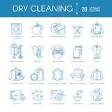 Dry cleaning laundry service line icons vector set for clothing types, car or carpets stock illustration