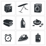 Dry Cleaning Laundry Vector Icons Set Stock Image