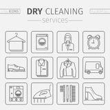 Dry cleaning services. Vector line icons. Stock Image