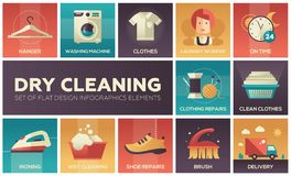 Dry cleaning - set of flat design infographics elements. High quality collection of icons. Hanger, washing machine, clothes, laundry worker, on time, shoe Stock Photography