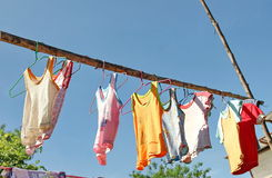 Dry clothes in the air Royalty Free Stock Image