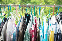 Dry clothes hanging on clothesline Royalty Free Stock Photos