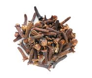 Dry cloves on white background stock photos
