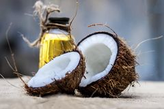 Coconut & Coconut oil. Dry Coconut & Oil on gunny Bag stock photography