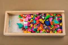 Dry colorful play dough in pieces royalty free stock images