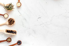 Dry colorful spices, vanilla, cinnamon on kitchen stone table background top view mockup Stock Image