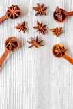 Dry colorful spices, vanilla on kitchen light table background top view mockup Royalty Free Stock Photos
