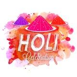 Dry colours plate for Holi Festival celebration. Dry colours plate on colourful splash background for Indian Festival, Happy Holi celebration vector illustration