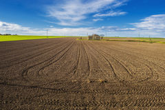 Dry Country Land. With signs in the field Royalty Free Stock Photos