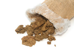 Dry cow dung in bag,Dry manure Stock Photography