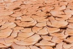 Dry and cracked earth perspective background Royalty Free Stock Photos