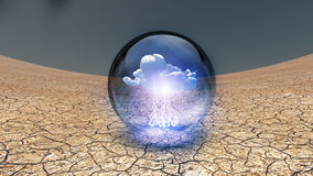 Dry Cracked earth with single cloud Royalty Free Stock Photos