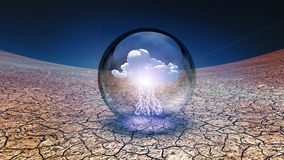 Dry Cracked earth with single cloud in container Stock Images