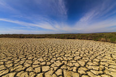 Dry cracked earth under the blue sky. Stock Photo