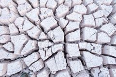 Looking down on dry cracked grey white mud forming patterns at the bottom of a river bed royalty free stock images