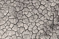Dry cracked ground grayscale sepia toned photo stock images
