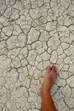 Dry cracked ground with my foot Royalty Free Stock Photos