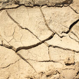 Dry cracked land on a hot summer day closeup Stock Photography