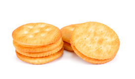 Dry cracker cookies isolated on white background cutout.Cracker. Isolated on white Stock Photo
