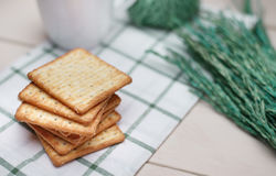 Dry cracker cookies on wooden . selective focus Royalty Free Stock Photography