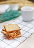 Dry cracker cookies on wooden . selective focus Stock Image