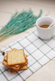 Dry cracker cookies on wooden . selective focus Royalty Free Stock Image