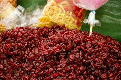 Dry Cranberries. For Sale On A Stand Royalty Free Stock Photo