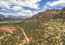 Dry Creek road in Sedona, Arizona, USA. Overview of Dry Creek Road area in Sedona and Red Rock formation on the background Stock Images