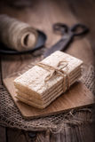 Dry crisp breads. Dark light. Royalty Free Stock Photography