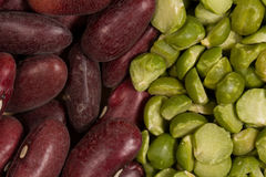 Dry crushed green peas and red beans. Different colors of healthy food. Territory taste. Grains and kernels Stock Photo