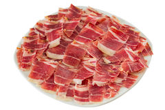 Dry-cured ham slices Stock Images